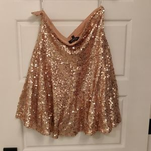 Guess Fit and Flair Rose Gold Sequin Skirt